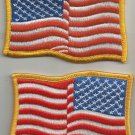 SET OF 2 ( PAIR ) AMERICAN WAVY FLAGS LEFT & RIGHT FACING MILITARY PATCHES - USA