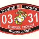 "USMC ""MACHINE GUNNER"" 0331 MOS MILITARY PATCH SEMPER FIDELIS MARINE CORPS"