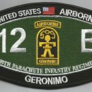 ARMY 509th PIR 12 B Airborne GERONIMO MOS Ratings Military Patch