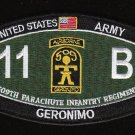 ARMY 509th PIR 11 B Airborne GERONIMO MOS Ratings Military Patch