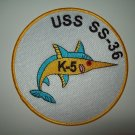 USS K-5 (SS-36) K-CLASS Submarine Military Patch - UNITED STATES NAVY