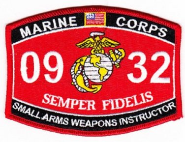 "USMC ""SMALL ARMS WEAPONS INSTRUCTOR"" 0932 MOS MILITARY PATCH SEMPER FIDELIS"