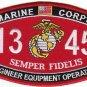 "USMC ""ENGINEER EQUIPMENT OPERATOR"" 1345 MOS MILITARY PATCH SEMPER FIDELIS"