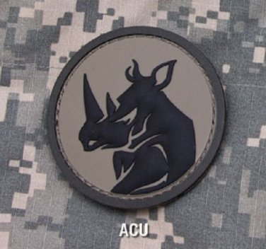 RHINO HEAD ACU TACTICAL COMBAT BLACK OPS BADGE MORALE PVC VELCRO MILITARY PATCH
