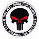 God Will Judge Our Enemies - We'll Arrange The Meeting PUNISHER Military Patch - White