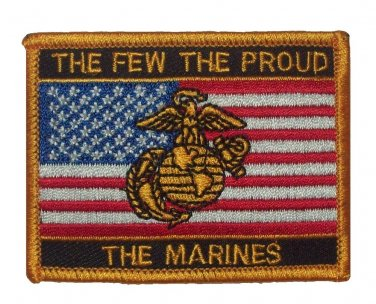 THE FEW THE PROUD THE MARINES American Flag Military Patch - USMC SEMPER FI