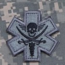 PIRATE Combat Medic Badge Velcro Military Morale Patch - ACU DARK
