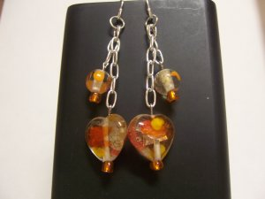 Orange Hearts Dangle