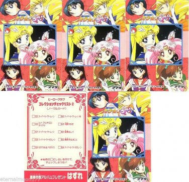Sailor Moon R Hero 5 Insert Regular Cards Set