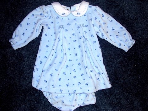 Carter's pretty blue velour dress 12 months