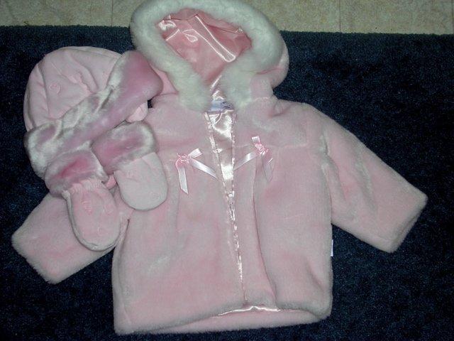 Little Me pink fur coat, hat, mittens NWOT 12 months