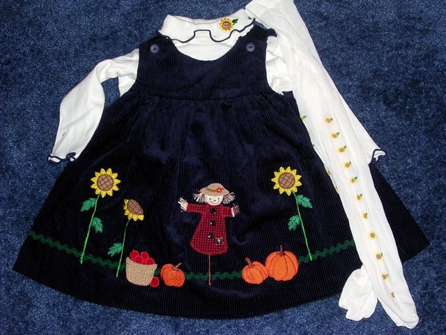Fall scene dress, onesie, tights like new 12 months
