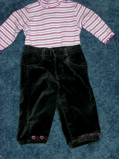 3pc heart pants and sweater set EUC 12 months