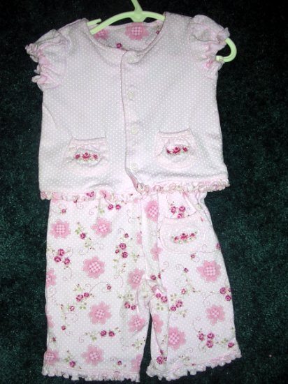 Pink flower capri outfit - like new 18 months