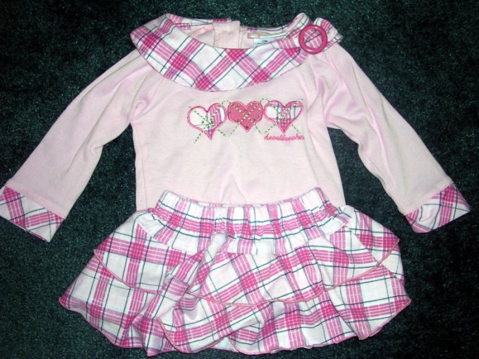 Pink plaid skirt set - EUC 12 months