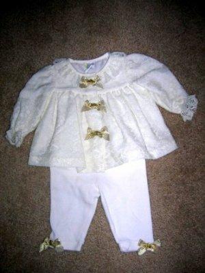 Lace top, gold bow top pants set 3-6 months