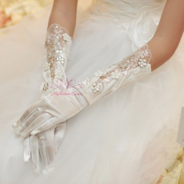White Lace Floral Bridal Fashion Gloves BG0008