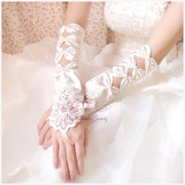 Square Embroidered Satin Cutout Fingerless Gloves, Wedding Gloves BG0009