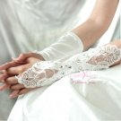 White Long Fingerless Lace Rhinestone Gloves BG0010