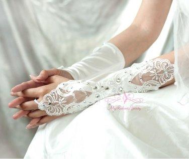 White Long Fingerless Lace Rhinestone Gloves BG0010