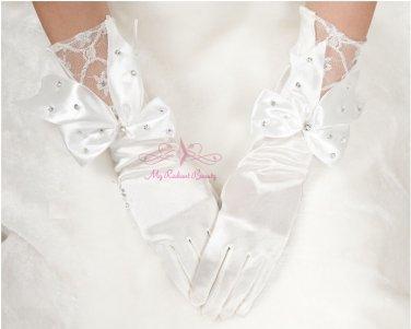 White Short Finger Satin Lace And Rhinestone Bow Gloves BG0011