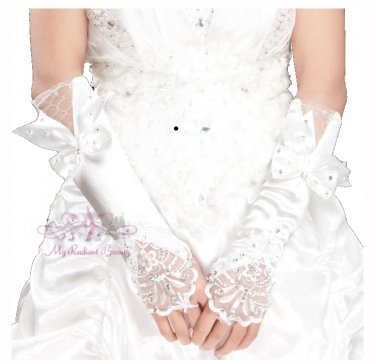 White Long Fingerless Ivory Satin Lace Rhinestone Bow Gloves BG0012