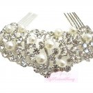 Exquisite Bridal Wedding Crystal Rhinestone Hair Comb Pearl Bridal Clip HC0003
