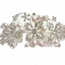 Flower Pearl Crystal Side Tiara Weddings Hair Comb HC0004