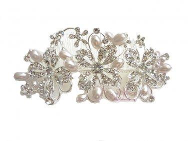 Flower Pearl Crystal Side Tiara Weddings Hair Comb HC0004