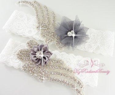 Gray Double Wings Rhinestone with Chic Shabby Satin Flower Garter, Bridal Garter Set GTF0009G