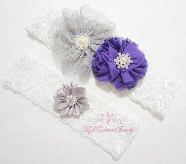 Purple Chiffon Flower Bridal Garter, Gray Lilac Rhinestone toss Garter, Wedding Garter Set GTF0004P
