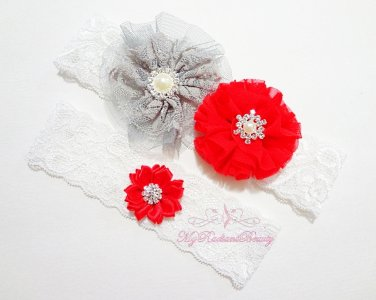 Bridal Garter Red Ballerina Chiffon Flower, Red Lilac Rhinestone toss Garter, Bridal Garter GTF0004R