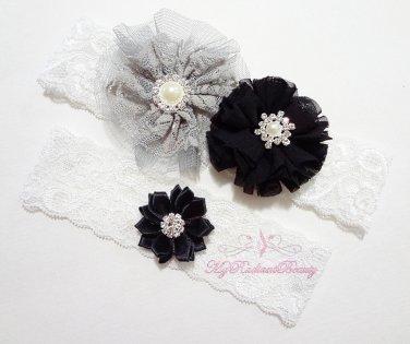 Black star Bridal Garter, Black Lilac Rhinestone toss Garter, Wedding Garter Set GTF0004BK