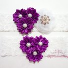 Bridal Garters Purple Triple Flower White Mesh silk , Bridal Garters, Lace Garters GTF0001P