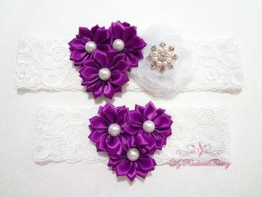 Bridal Garters Purple Triple Flower White Mesh silk , Bridal Garters, Lace Garters GTF0001P