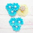 Something Blue Triple Flower Yellow Mesh Silk Bridal Garter, Wedding Garter, Lace Garters GTF0002TUR
