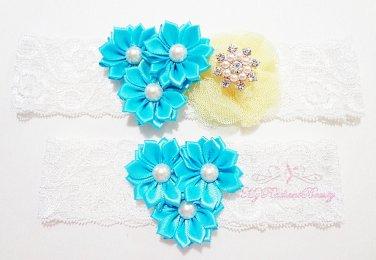 Something Blue Triple Flower Yellow Mesh Silk Bridal Garter, Wedding Garter, Lace Garters GTF0002TUR