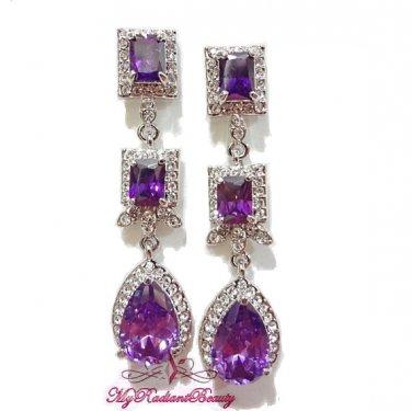 Purple Drop Floral Square Dangle Earring Swarovski Zircon ER0014