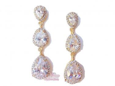 18K GP Bridesmaid Tear Drop Earring Swarovski Crystal Zircon Earrings ER0010