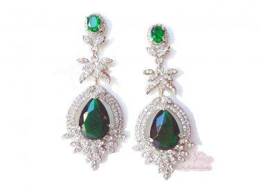 Water drop Floral Leaf Zircon Dangle Earring Rhinestone Crystal, Green Sapphire earrings ER0006