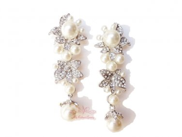 Flower Pearl Dangle Earring Austrian Rhinestone Crystal ER0003