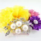 Ivory Pearl and Clear Rhinestone Crystal Diamante Beautiful Bow Brooch BR0011