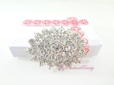 Brilliant Oval Rhinestone Crystal Bridal Brooch Perfect for Faux Fur, Wedding Brooch BR0029
