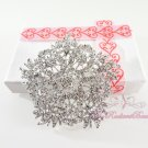 3'' wedding silver brooches, Rhinestone Vintage Flower Bouquet, Bridal Brooch, Wedding brooch BR0033