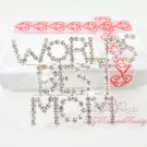 Sparkly Rhinestone Worlds Best Mom Brooch Pin, Wedding Brooch, Bridal Mother Brooch BR0032