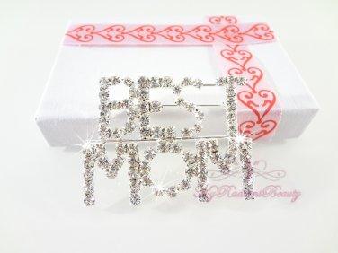 Full Rhinestone BEST MOM Brooch, Wedding Brooch, Bridal Mother Brooch BR0031