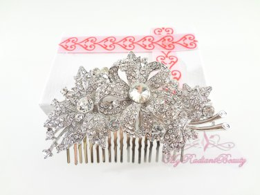 Floral Leaf Hair Comb, Wedding Comb Jewelry, Wedding Comb, Bridal Comb MyRadiantBeauty HC0024