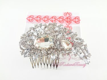 Clear Austrian Rhinestone Flower Hair Comb Tiara, Wedding Comb, Bridal Comb MyRadiantBeauty HC0023