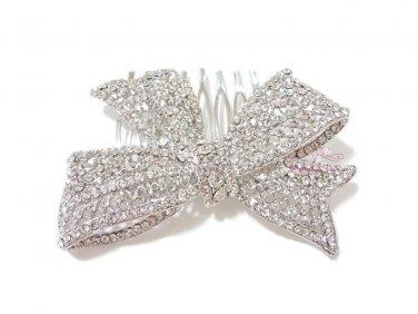 Delicate Bridal Bow knot Hair Comb Pieces Rhinestone Crystal, Bridal Comb, Wedding Comb- HC0011