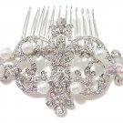 Elegant Royal Wedding Pearl Flower Hair Comb Tiara Rhinestone, Bridal hair Comb, Wedding Comb HC0012
